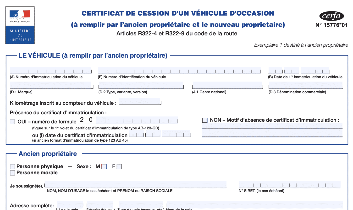 certificat cession vehicule occasion
