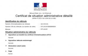 commande certificat non gage